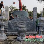 Mẫu lư hương đá lắp đặt khu lăng mộ LD 32