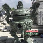 Mẫu lư hương đá xanh rêu đẹp LD 57
